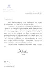 E o Papa Francisco Respondeu Minha Carta